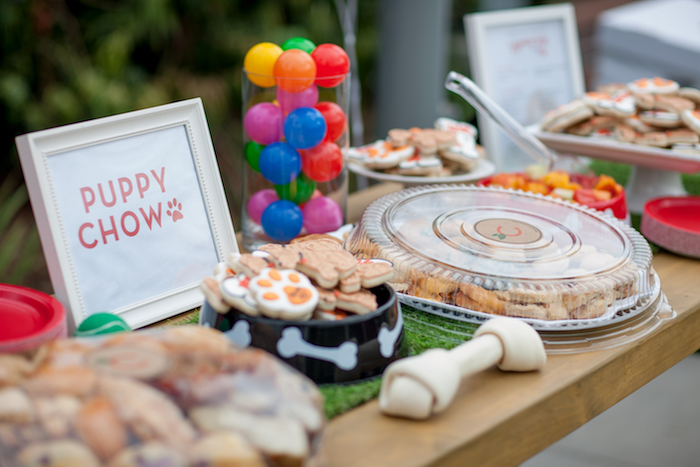 Puppy Chow food table from a Puppy PAW-ty on Kara's Party Ideas | KarasPartyIdeas.com (13)