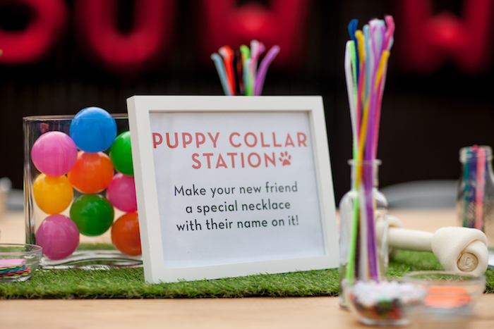 Puppy Collar Station from a Puppy PAW-ty on Kara's Party Ideas | KarasPartyIdeas.com (23)