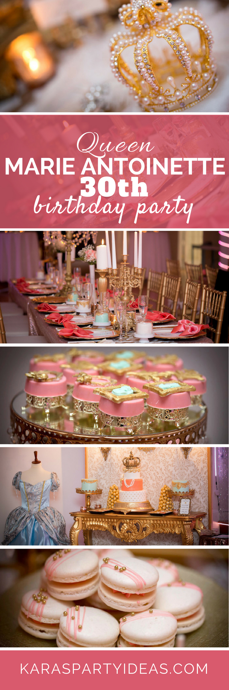 Queen Marie Antoinette 30th Birthday Party via Kara's Party Ideas - KarasPartyIdeas.com