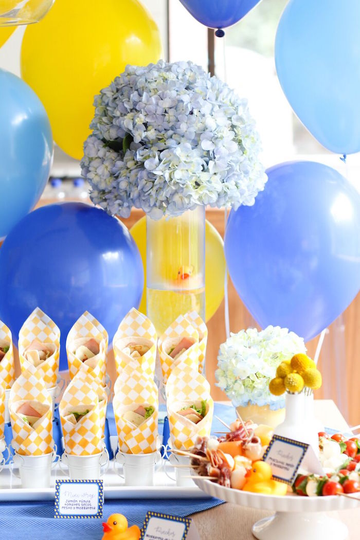 Food table from a Rubber Ducky Birthday Party on Kara's Party Ideas | KarasPartyIdeas.com (9)