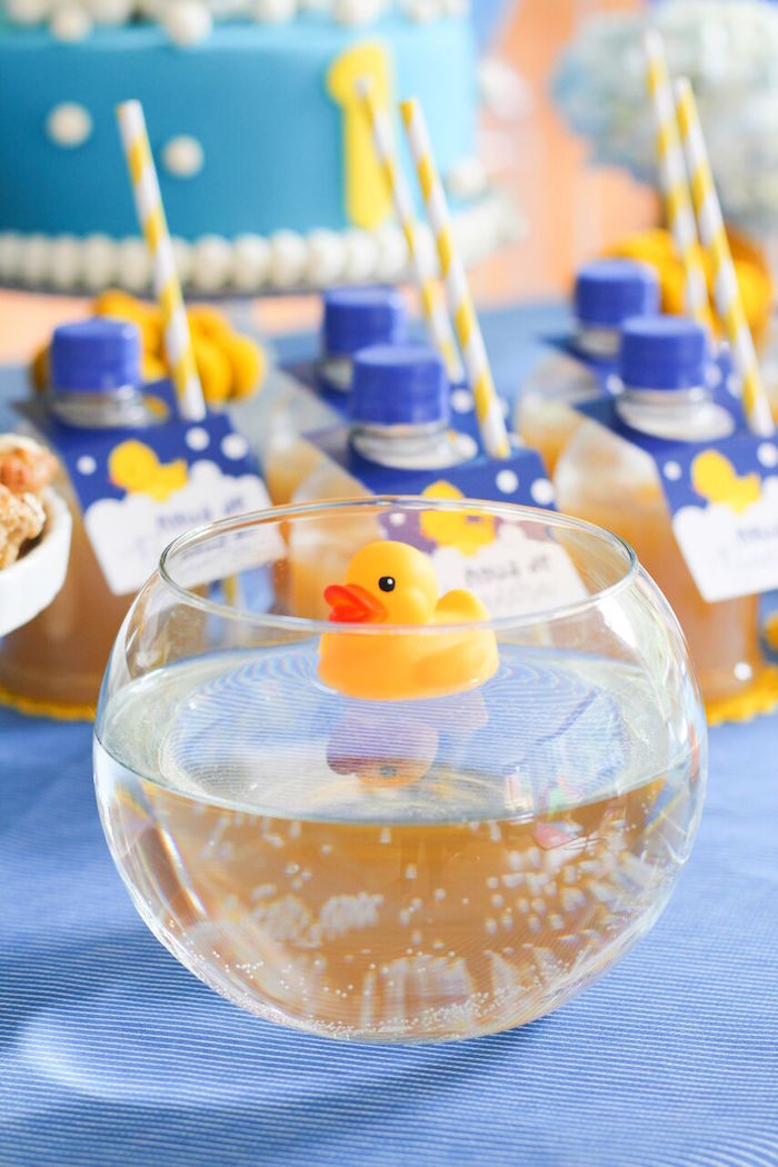 Floating Rubber Ducky centerpiece from a Rubber Ducky Birthday Party on Kara's Party Ideas | KarasPartyIdeas.com (7)