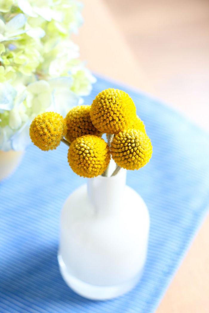 Craspedia flower centerpiece from a Rubber Ducky Birthday Party on Kara's Party Ideas | KarasPartyIdeas.com (5)
