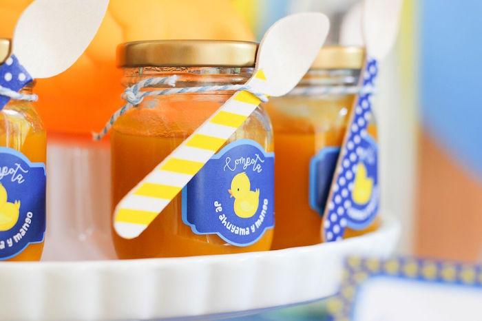 Dessert jars from a Rubber Ducky Birthday Party on Kara's Party Ideas | KarasPartyIdeas.com (4)