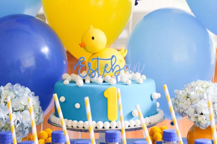 Rubber Ducky Cake from a Rubber Ducky Birthday Party on Kara's Party Ideas | KarasPartyIdeas.com (16)