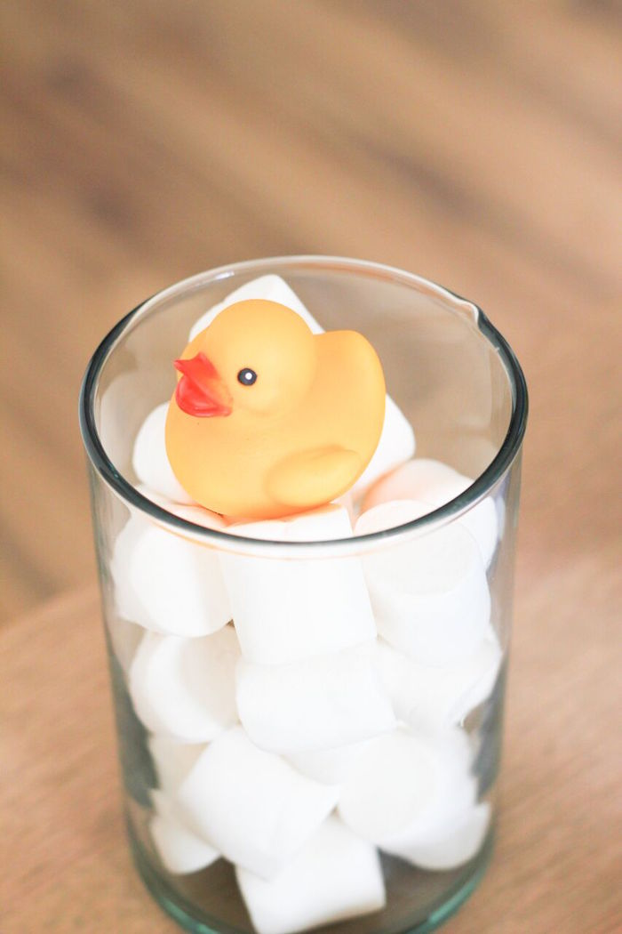 "Rubber Ducky ""in bubbles"" centerpiece from a Rubber Ducky Birthday Party on Kara's Party Ideas 