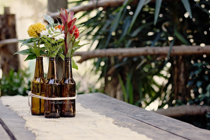 Bottle bloom centerpiece + guest table from a Rustic Biker BBQ Birthday Party on Kara's Party Ideas | KarasPartyIdeas.com (8)