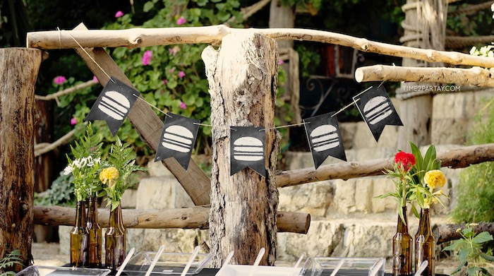 Chalkboard hamburger banner from a Rustic Biker BBQ Birthday Party on Kara's Party Ideas | KarasPartyIdeas.com (5)