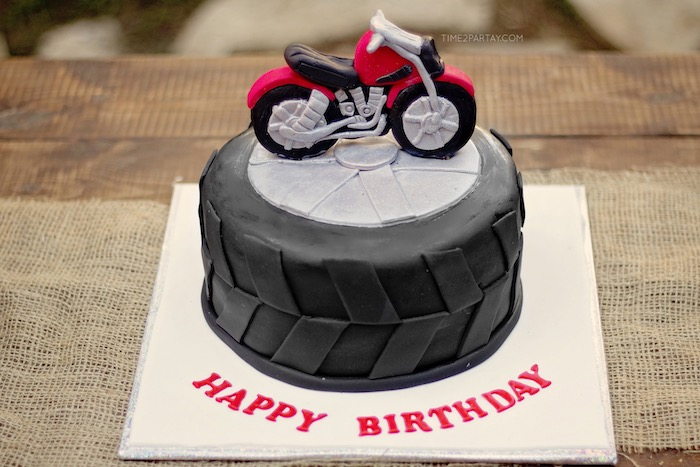 Motorcycle Cake From A Rustic Biker BBQ Birthday Party On Karas Ideas