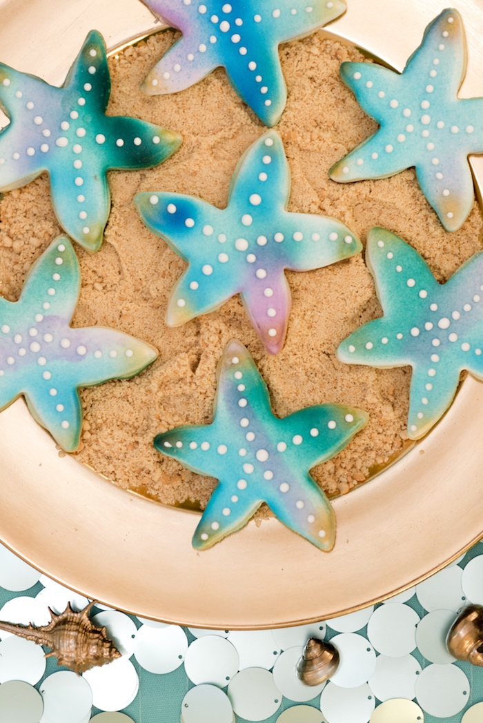 Starfish cookies from a Sharks vs. Mermaids Under the Sea Party on Kara's Party Ideas   KarasPartyIdeas.com (28)