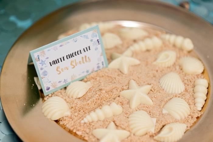 White Chocolate Sea Shells from a Sharks vs. Mermaids Under the Sea Party on Kara's Party Ideas   KarasPartyIdeas.com (25)