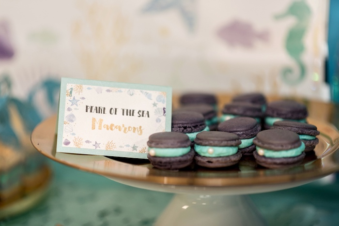 Pearl Of The Sea Macarons from a Sharks vs. Mermaids Under the Sea Party on Kara's Party Ideas   KarasPartyIdeas.com (22)