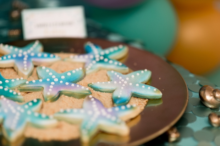 Starfish cookies from a Sharks vs. Mermaids Under the Sea Party on Kara's Party Ideas   KarasPartyIdeas.com (21)
