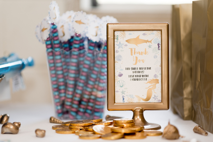 Sweet signage from a Sharks vs. Mermaids Under the Sea Party on Kara's Party Ideas | KarasPartyIdeas.com (38)