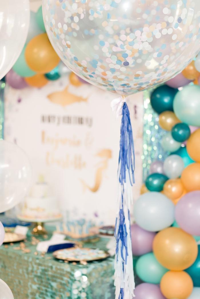 Jumbo confetti balloon from a Sharks vs. Mermaids Under the Sea Party on Kara's Party Ideas | KarasPartyIdeas.com (13)