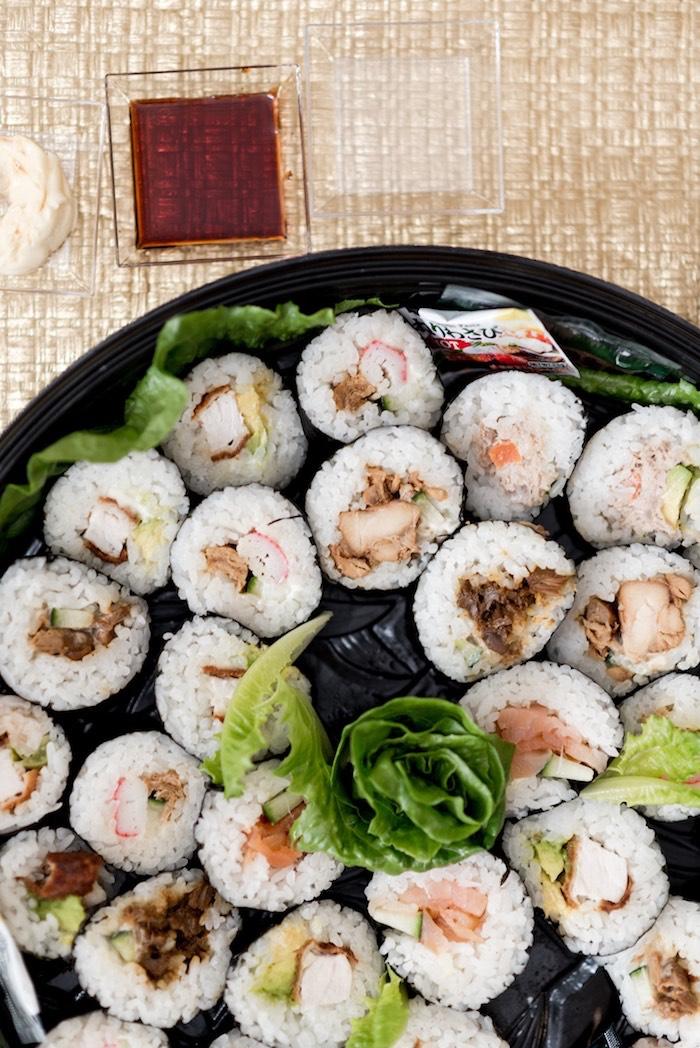 Sushi rolls from a Sharks vs. Mermaids Under the Sea Party on Kara's Party Ideas   KarasPartyIdeas.com (9)