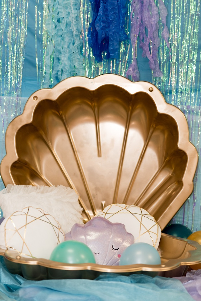 Seashell photo booth from a Sharks vs. Mermaids Under the Sea Party on Kara's Party Ideas | KarasPartyIdeas.com (35)