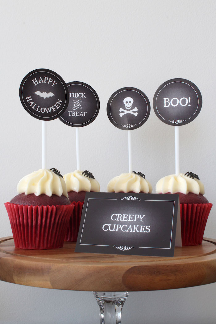 Creepy Cupcakes from a Simple Halloween Dessert Table + FREE Printable on Kara's Party Ideas | KarasPartyIdeas.com (10)