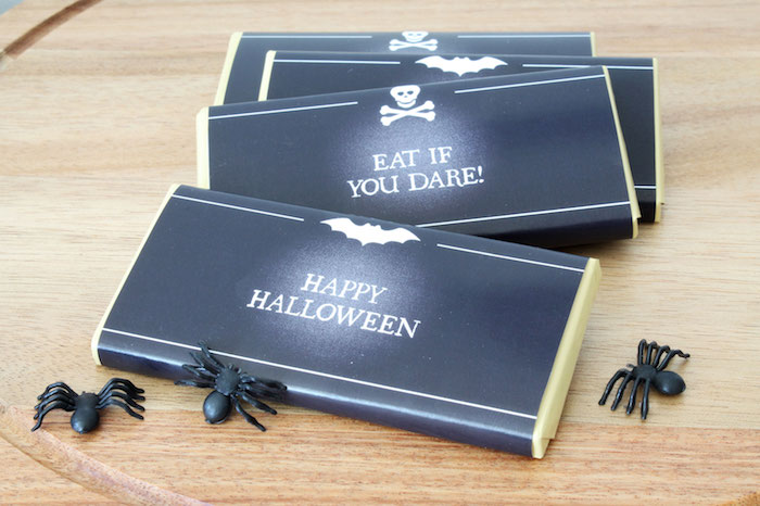 Halloween chalkboard candy bar wrappers from a Simple Halloween Dessert Table + FREE Printable on Kara's Party Ideas | KarasPartyIdeas.com (9)