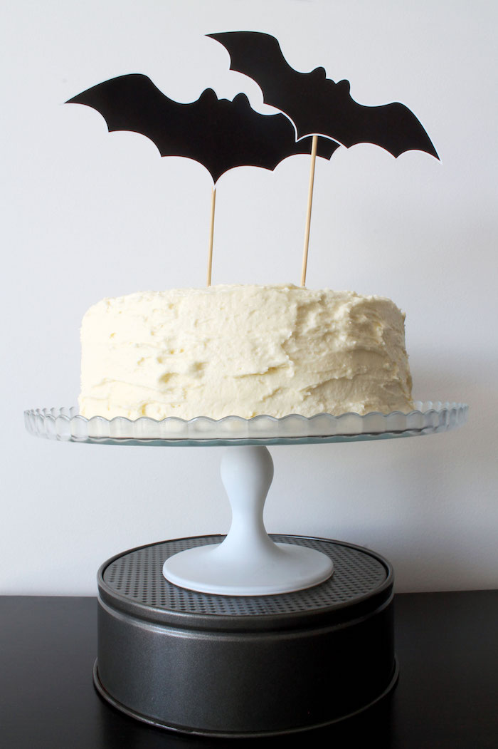 Bat cake from a Simple Halloween Dessert Table + FREE Printable on Kara's Party Ideas | KarasPartyIdeas.com (6)