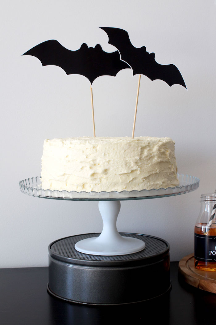 Bat cake from a Simple Halloween Dessert Table + FREE Printable on Kara's Party Ideas | KarasPartyIdeas.com (22)