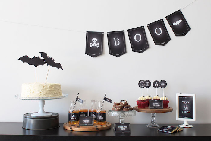 Sweet table from a Simple Halloween Dessert Table + FREE Printable on Kara's Party Ideas | KarasPartyIdeas.com (21)