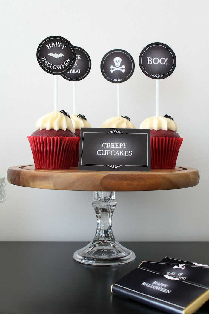 Creepy Cupcakes from a Simple Halloween Dessert Table + FREE Printable on Kara's Party Ideas | KarasPartyIdeas.com (19)