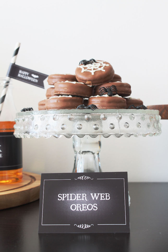 Spider Web Oreos from a Simple Halloween Dessert Table + FREE Printable on Kara's Party Ideas | KarasPartyIdeas.com (15)