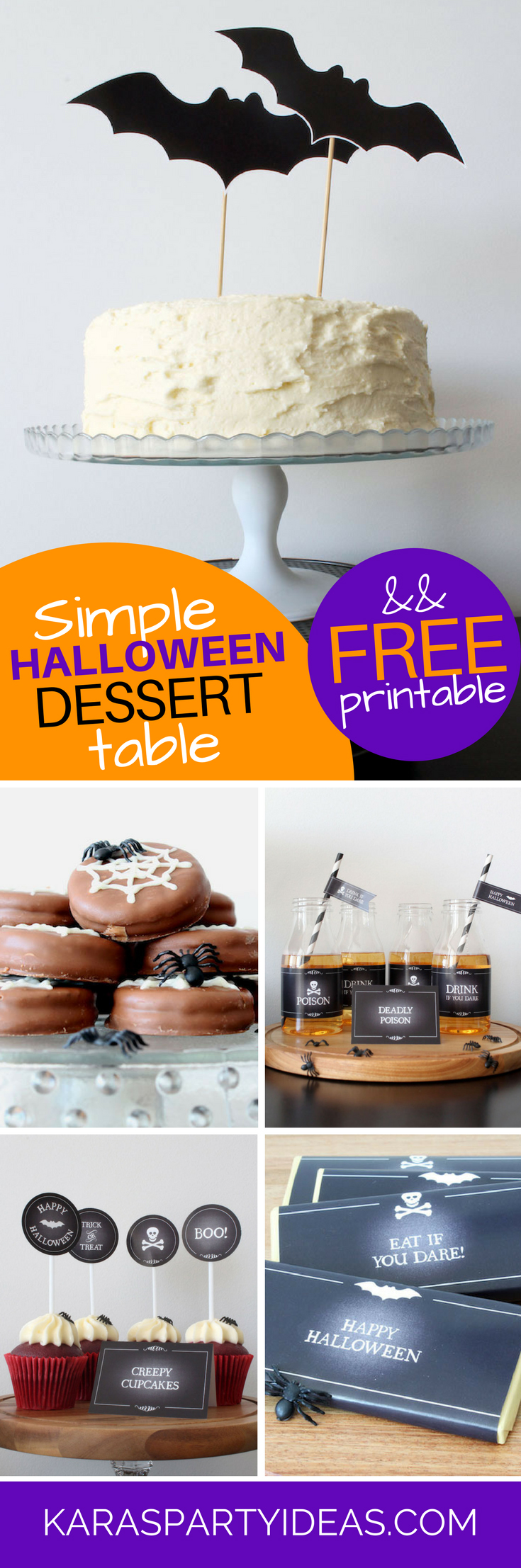 Simple Halloween Dessert Table plus Free Printable via Kara's Party Ideas - KarasPartyIdeas.com