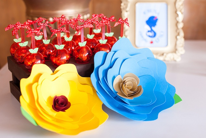 Paper flowers and apple favors from a Snow White Birthday Party on Kara's Party Ideas | KarasPartyIdeas.com (12)
