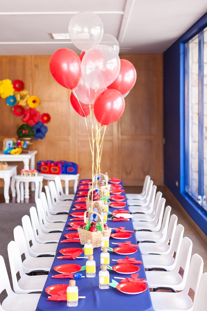 Guest table from a Snow White Birthday Party on Kara's Party Ideas | KarasPartyIdeas.com (21)