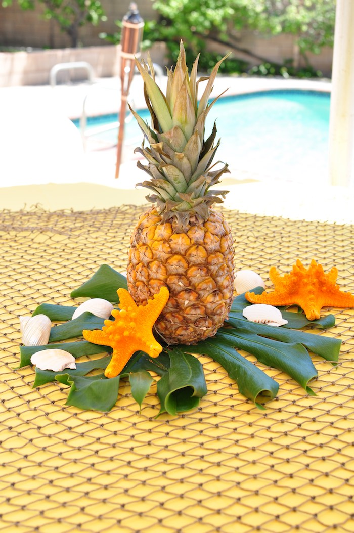 Pineapple table centerpiece from a Tiki Hut Luau Party on Kara's Party Ideas | KarasPartyIdeas.com (21)