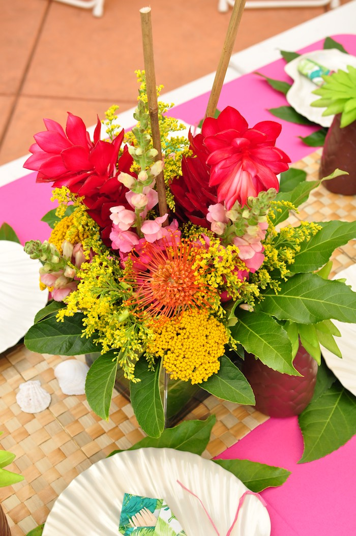 Tropical floral arrangement from a Tiki Hut Luau Party on Kara's Party Ideas | KarasPartyIdeas.com (19)