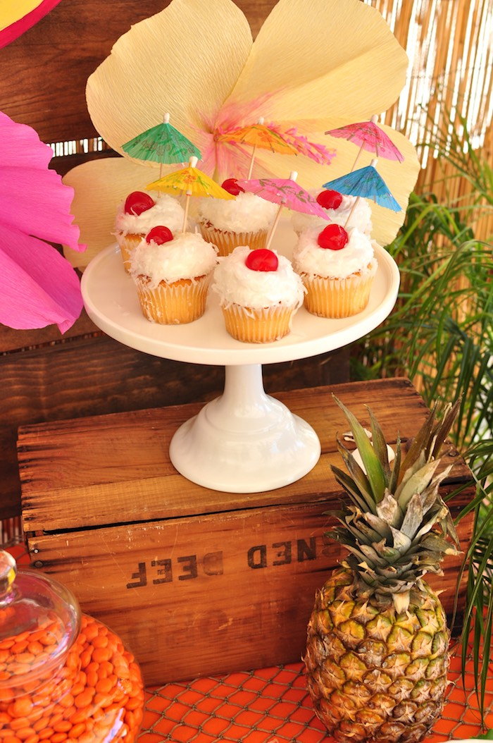 Coconut cupcakes from a Tiki Hut Luau Party on Kara's Party Ideas | KarasPartyIdeas.com (17)