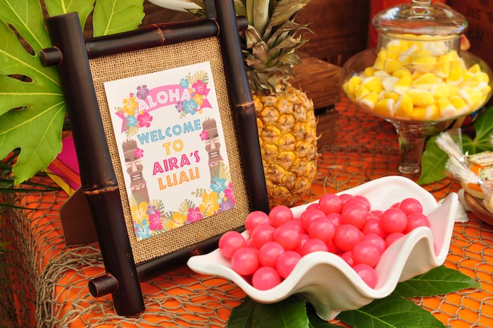 Signage and treats from a Tiki Hut Luau Party on Kara's Party Ideas | KarasPartyIdeas.com (16)
