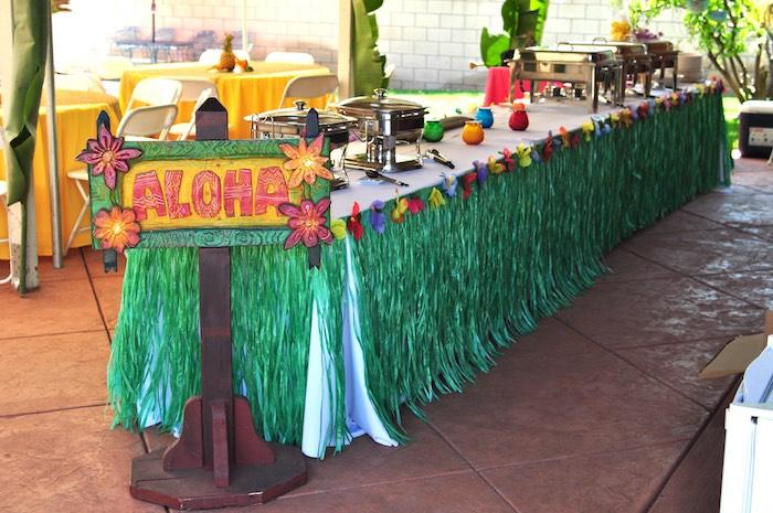 Aloha food table from a Tiki Hut Luau Party on Kara's Party Ideas | KarasPartyIdeas.com (11)