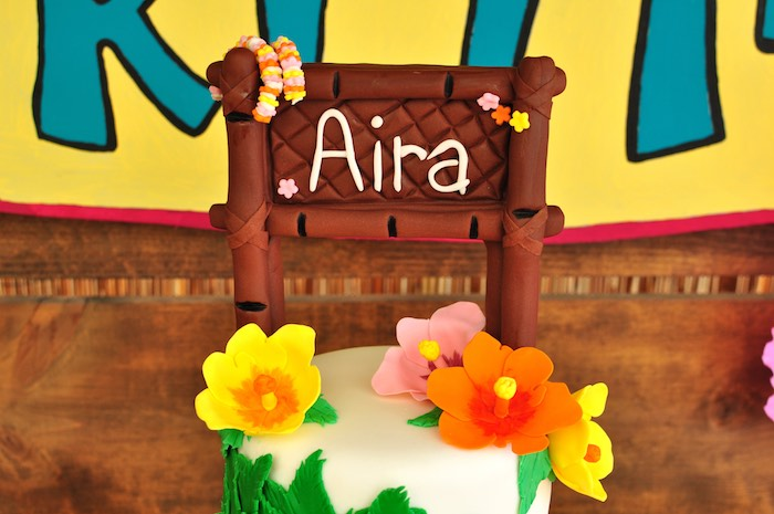 Cake top from a Tiki Hut Luau Party on Kara's Party Ideas | KarasPartyIdeas.com (9)