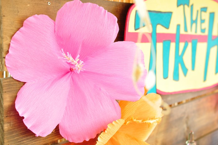Flower decoration from a Tiki Hut Luau Party on Kara's Party Ideas | KarasPartyIdeas.com (8)