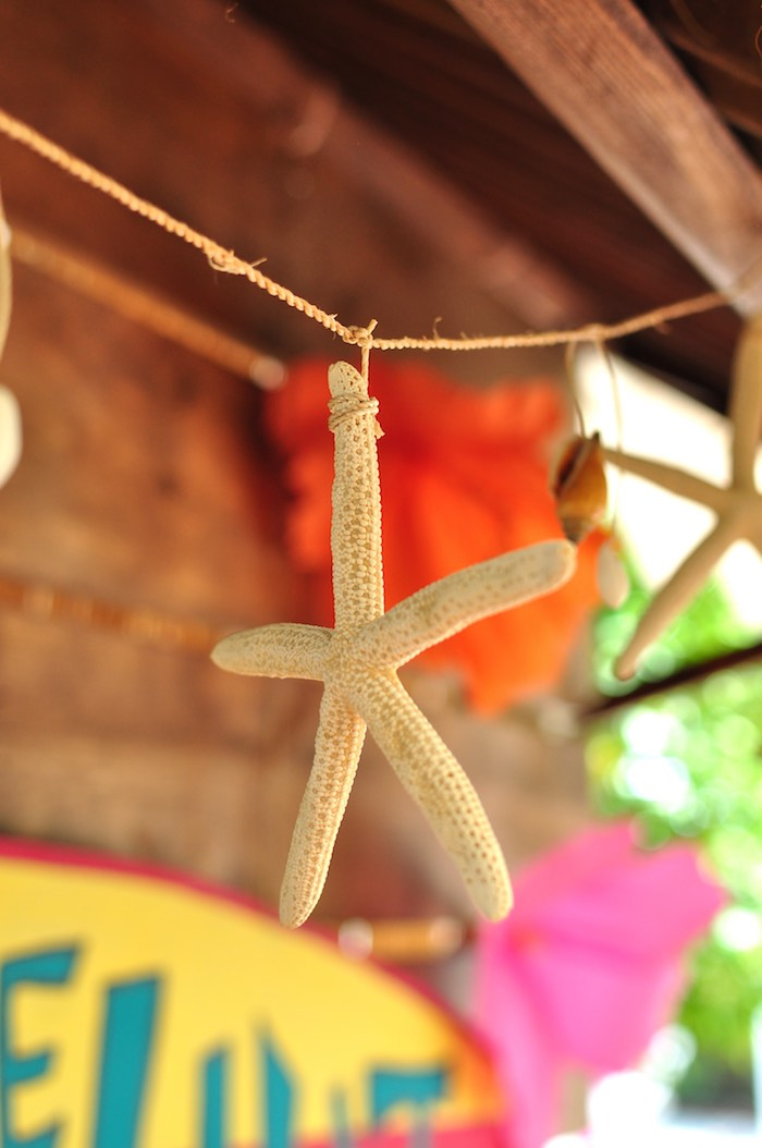 Starfish garland from a Tiki Hut Luau Party on Kara's Party Ideas | KarasPartyIdeas.com (7)