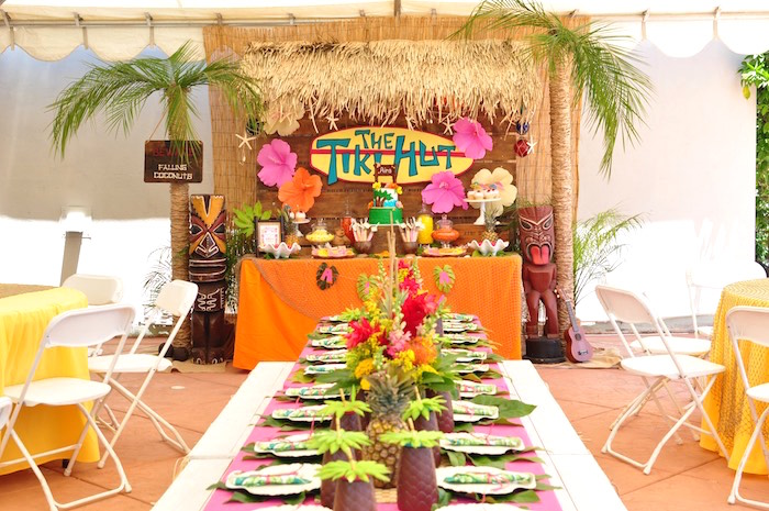 Tropical party tables from a Tiki Hut Luau Party on Kara's Party Ideas | KarasPartyIdeas.com (30)