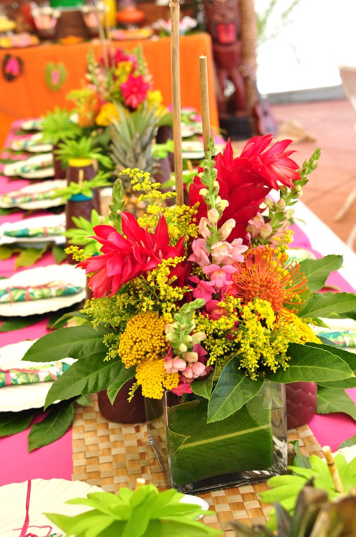 Tropical flower centerpiece from a Tiki Hut Luau Party on Kara's Party Ideas | KarasPartyIdeas.com (28)
