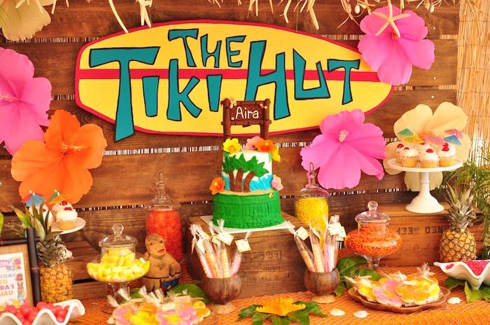 Tiki Hut Party Table from a Tiki Hut Luau Party on Kara's Party Ideas | KarasPartyIdeas.com (27)