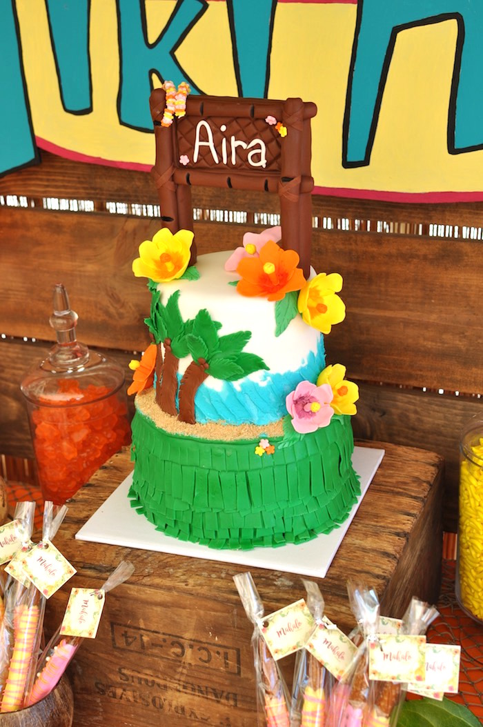Tropical Cake from a Tiki Hut Luau Party on Kara's Party Ideas | KarasPartyIdeas.com (26)