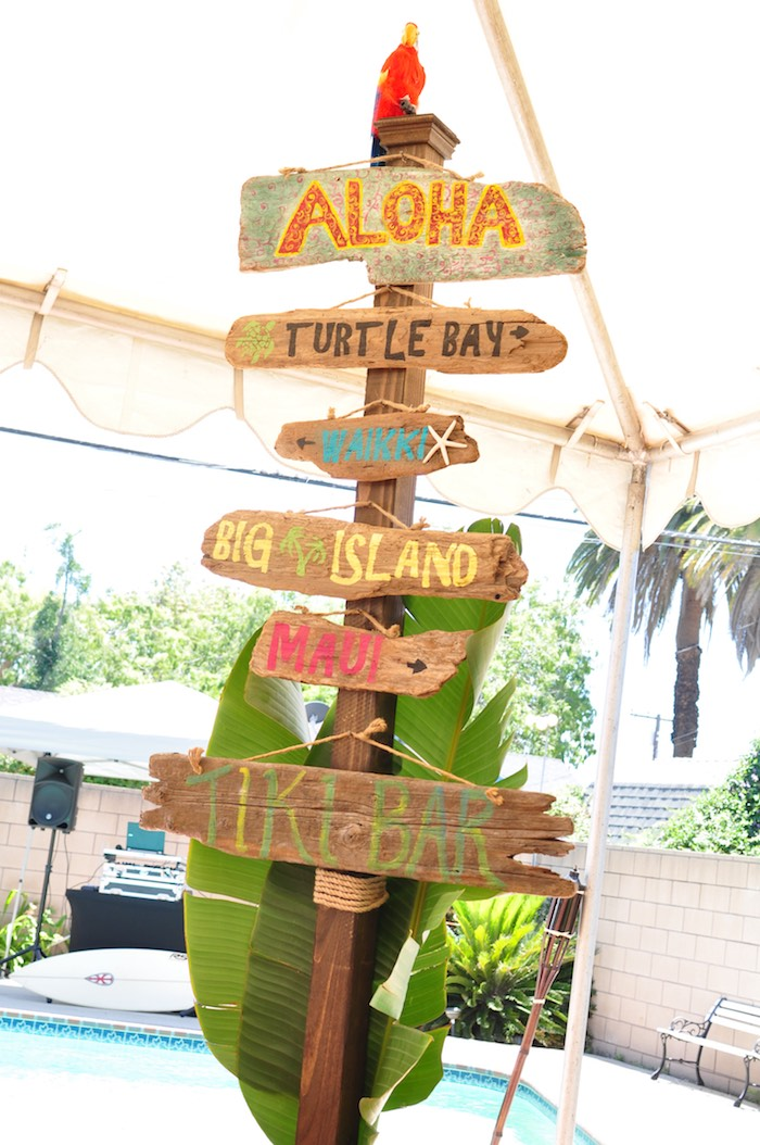 Driftwood directional sign from a Tiki Hut Luau Party on Kara's Party Ideas | KarasPartyIdeas.com (24)