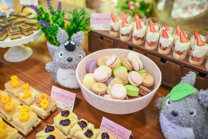 Sweet table detail from a Totoro's Forest Birthday Party on Kara's Party Ideas   KarasPartyIdeas.com (8)