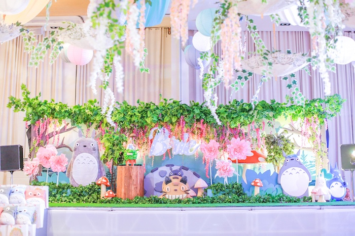 Totoro backdrop + cakescape from a Totoro backdrop from a Totoro's Forest Birthday Party on Kara's Party Ideas | KarasPartyIdeas.com (25)