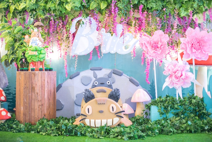 Totoro backdrop from a Totoro's Forest Birthday Party on Kara's Party Ideas | KarasPartyIdeas.com (24)