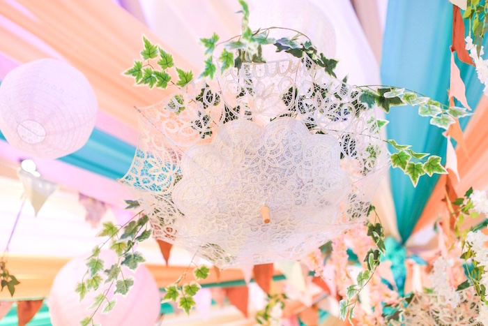 Lace parasol and ivy chandelier from a Totoro's Forest Birthday Party on Kara's Party Ideas | KarasPartyIdeas.com (21)