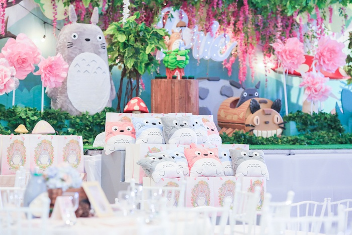 Totoro pillow favors from a Totoro's Forest Birthday Party on Kara's Party Ideas | KarasPartyIdeas.com (20)