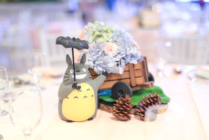 Guest table centerpiece from a Totoro's Forest Birthday Party on Kara's Party Ideas | KarasPartyIdeas.com (19)