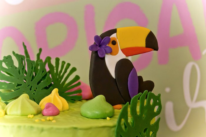 Toucan topper from a Tropical Toucan Birthday Party on Kara's Party Ideas | KarasPartyIdeas.com (11)